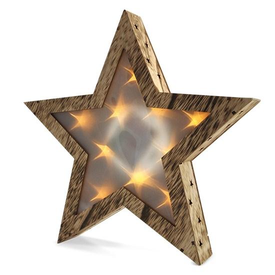 Solight LED dřevěná vánoční hvězda, 3D efekt světla, 3 x AA , teplá bílá (Solight LED dřevěná vánoční hvězda, 3D efekt světla, )