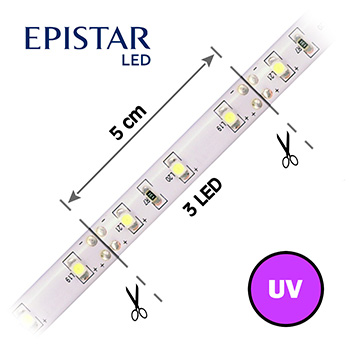 LED pásek s UV čipy 60LED/m, 3528, IP65, 12V, 5m